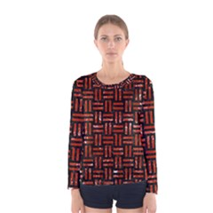 Woven1 Black Marble & Red Marble Women s Long Sleeve Tee