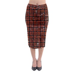 Woven1 Black Marble & Red Marble Midi Pencil Skirt