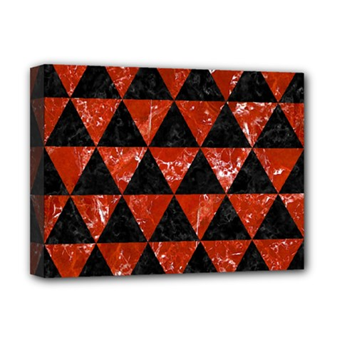 Triangle3 Black Marble & Red Marble Deluxe Canvas 16  X 12  (stretched)
