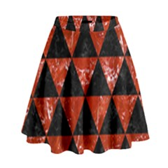 Triangle3 Black Marble & Red Marble High Waist Skirt
