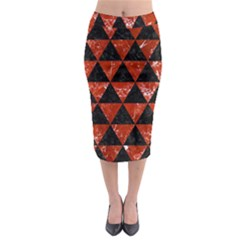 Triangle3 Black Marble & Red Marble Midi Pencil Skirt