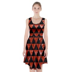 Triangle3 Black Marble & Red Marble Racerback Midi Dress