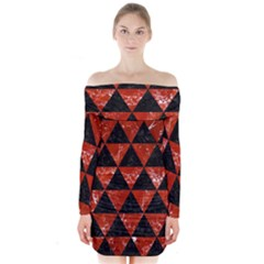 Triangle3 Black Marble & Red Marble Long Sleeve Off Shoulder Dress