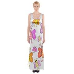 Cute butterflies pattern Maxi Thigh Split Dress