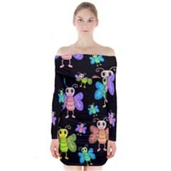 Cartoon Style Butterflies Long Sleeve Off Shoulder Dress