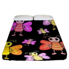 Cute Butterflies, Colorful Design Fitted Sheet (king Size)