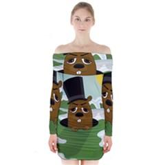 Groundhog Long Sleeve Off Shoulder Dress