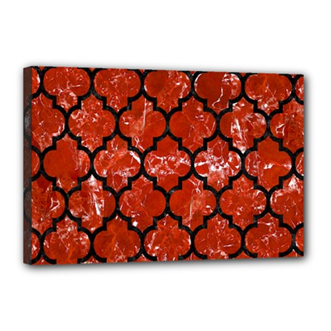 Tile1 Black Marble & Red Marble (r) Canvas 18  X 12  (stretched)