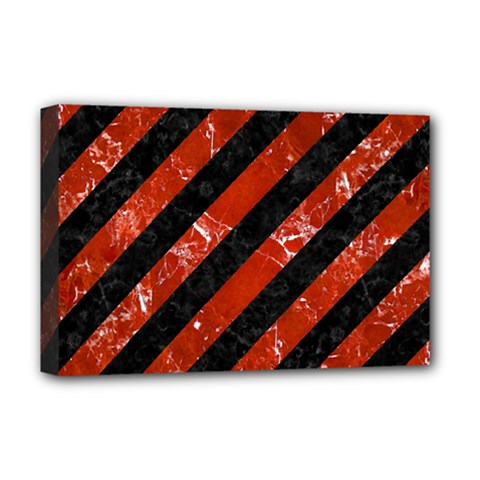 Stripes3 Black Marble & Red Marble Deluxe Canvas 18  X 12  (stretched)