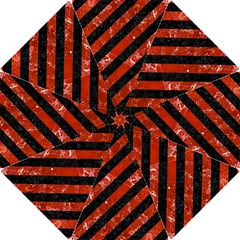 Stripes3 Black Marble & Red Marble Hook Handle Umbrella (small)