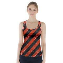Stripes3 Black Marble & Red Marble Racer Back Sports Top