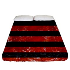 Stripes2 Black Marble & Red Marble Fitted Sheet (queen Size)