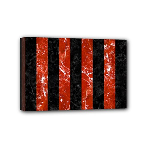 Stripes1 Black Marble & Red Marble Mini Canvas 6  X 4  (stretched)