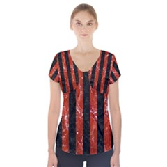 Stripes1 Black Marble & Red Marble Short Sleeve Front Detail Top