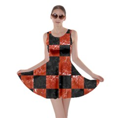 Square1 Black Marble & Red Marble Skater Dress