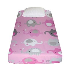 Animals Elephant Pink Cute Fitted Sheet (single Size)