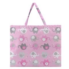 Animals Elephant Pink Cute Zipper Large Tote Bag