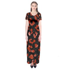 Skin5 Black Marble & Red Marble (r) Short Sleeve Maxi Dress