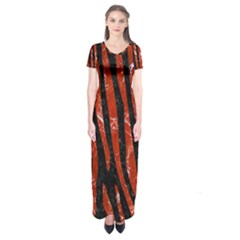 Skin4 Black Marble & Red Marble (r) Short Sleeve Maxi Dress
