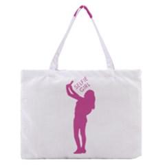 Selfie Girl Graphic Medium Zipper Tote Bag