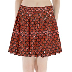 Scales3 Black Marble & Red Marble (r) Pleated Mini Skirt