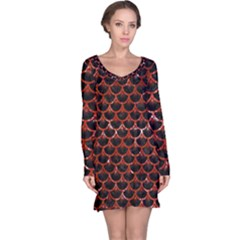 Scales3 Black Marble & Red Marble Long Sleeve Nightdress
