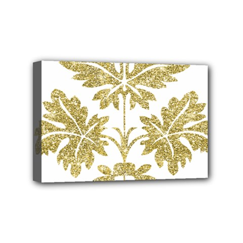 Gold Authentic Silvery Pattern Mini Canvas 6  x 4