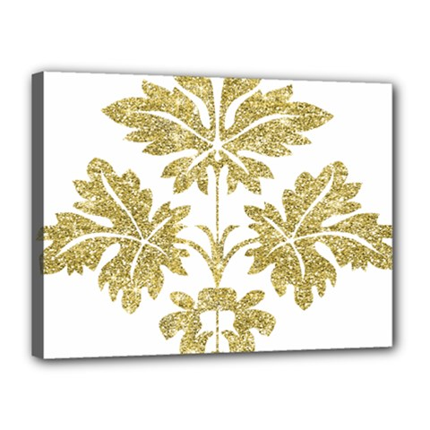 Gold Authentic Silvery Pattern Canvas 16  x 12