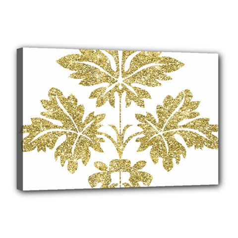Gold Authentic Silvery Pattern Canvas 18  x 12