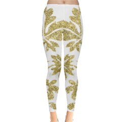Gold Authentic Silvery Pattern Leggings