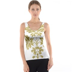 Gold Authentic Silvery Pattern Tank Top
