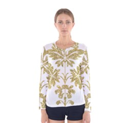 Gold Authentic Silvery Pattern Women s Long Sleeve Tee