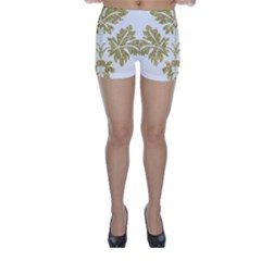 Gold Authentic Silvery Pattern Skinny Shorts