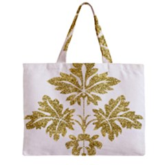 Gold Authentic Silvery Pattern Zipper Mini Tote Bag