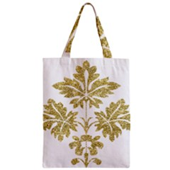 Gold Authentic Silvery Pattern Zipper Classic Tote Bag