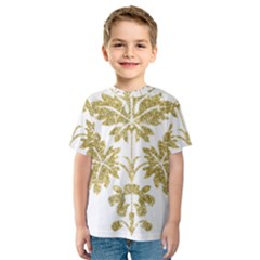 Gold Authentic Silvery Pattern Kids  Sport Mesh Tee
