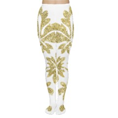Gold Authentic Silvery Pattern Women s Tights