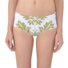 Gold Authentic Silvery Pattern Mid-Waist Bikini Bottoms