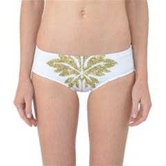 Gold Authentic Silvery Pattern Classic Bikini Bottoms