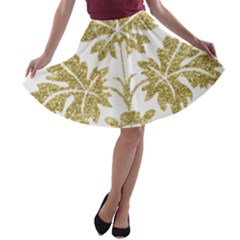 Gold Authentic Silvery Pattern A-line Skater Skirt