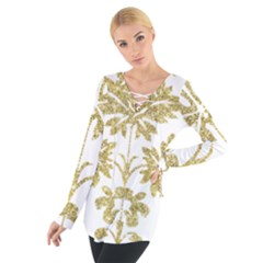 Gold Authentic Silvery Pattern Women s Tie Up Tee