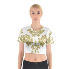 Gold Authentic Silvery Pattern Cotton Crop Top