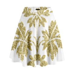 Gold Authentic Silvery Pattern High Waist Skirt