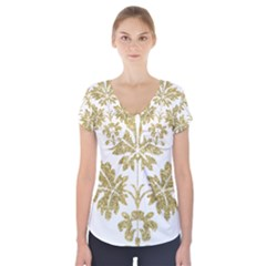 Gold Authentic Silvery Pattern Short Sleeve Front Detail Top