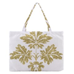 Gold Authentic Silvery Pattern Medium Zipper Tote Bag