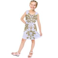 Gold Authentic Silvery Pattern Kids  Tunic Dress