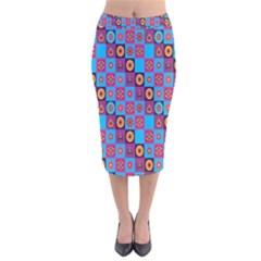 Batik Velvet Midi Pencil Skirt