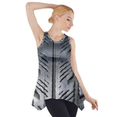 Mature Black Auto Altreifen Rubber Pattern Texture Car Side Drop Tank Tunic