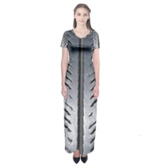 Mature Black Auto Altreifen Rubber Pattern Texture Car Short Sleeve Maxi Dress