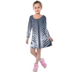 Mature Black Auto Altreifen Rubber Pattern Texture Car Kids  Long Sleeve Velvet Dress
